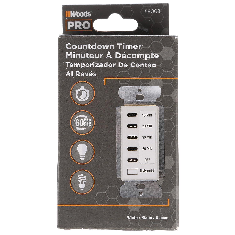 Woods 59008WD In-Wall 60-Minute Digital Countdown Timer (White) - In Wall  Countdown Timer - Amazon.com