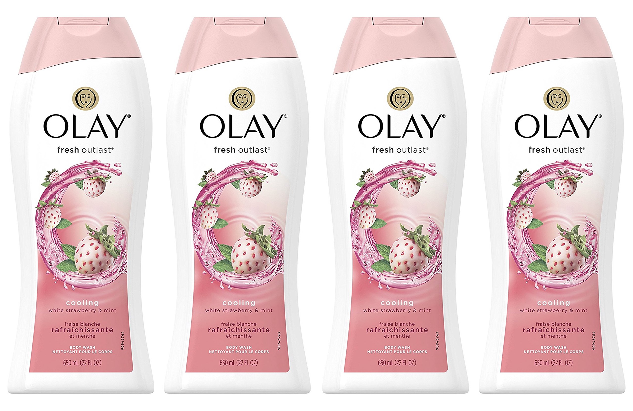Body Wash for Women by Olay, Fresh Outlast Cooling White Strawberry & Mint Body Wash, 22 oz, (4 Count) by Olay