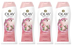 Body Wash for Women by Olay, Fresh Outlast Cooling White Strawberry & Mint Body Wash, 22 oz, (4 Count)