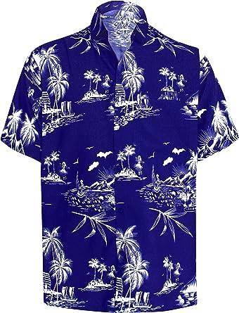 LA LEELA Funky Camisa Hawaiana Señores Manga Corta Bolsillo Delantero impresión De Hawaii Playa Colores Fiestas Verano y Vacaciones Azul_W420 XS: Amazon.es: Ropa y accesorios