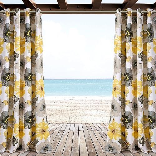 Lush Decor Leah Window Curtain Panel Set, 84 x 52 , Yellow Gray