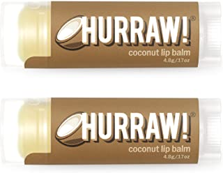 product image for Hurraw! Coconut Lip Balm, 2 Pack: Organic, Certified Vegan, Cruelty and Gluten Free. Non-GMO, 100% Natural Ingredients. Bee, Shea, Soy and Palm Free. Made in USA