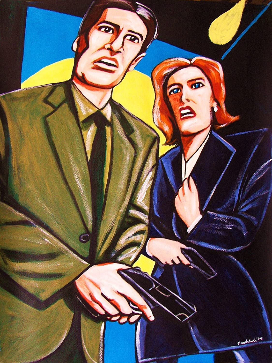 BLUE THE X FILES 2 FRAMED CANVAS WALL ART CLASSIC SHOW PICTURE PAPER PRINT