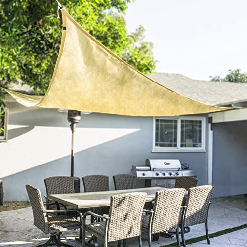 ProSource New Sand Color 16' Oversized Sun Shade Sail Shade Canopy Sun Shelter