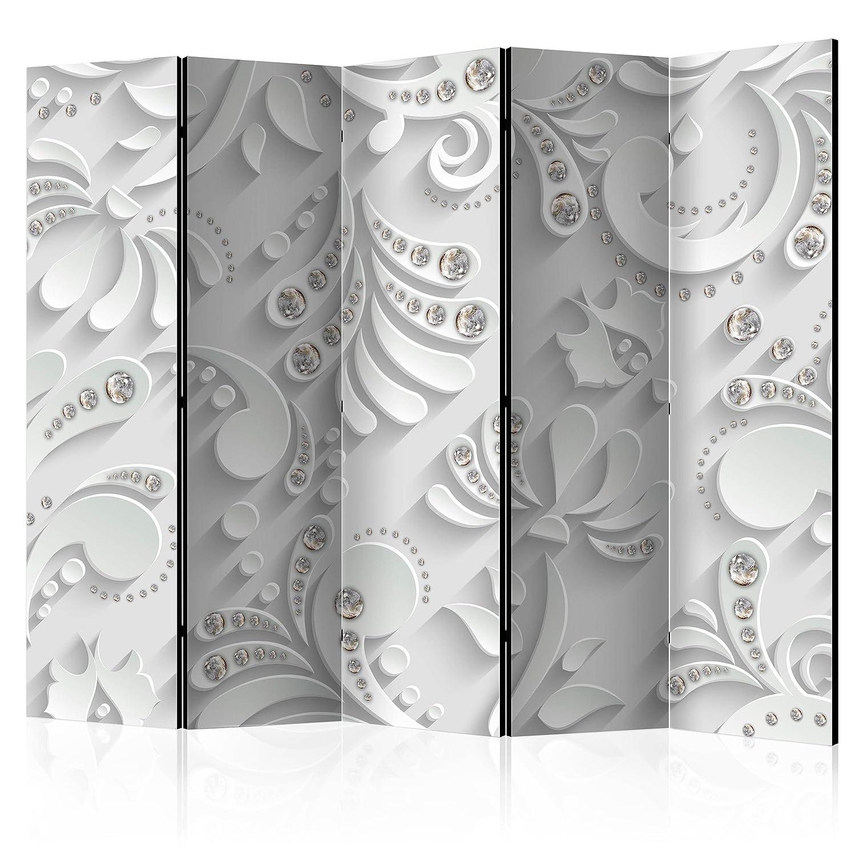 decomonkey Paravent Raumteiler XXL Einseitig Ornament Diamant weiß 225x172 cm 5 TLG. Trennwand Vlies Leinwand Raumtrenner Sichtschutz spanische Wand Blickdicht Textile Haptik