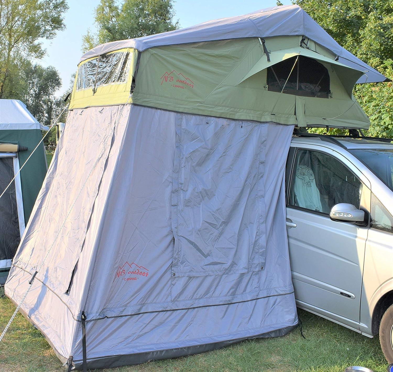 NB outdoor Camping Carpa de techo Berlin con toldo, 320 x 140 x 130 cm