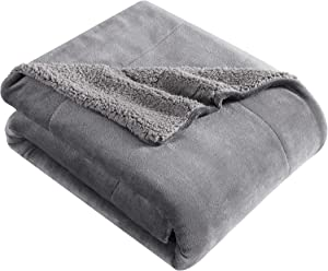 Eddie Bauer Ultra-Plush Collection Throw Blanket-Reversible Sherpa Fleece Cover, Soft & Cozy, Perfect for Bed or Couch, Smoke Grey