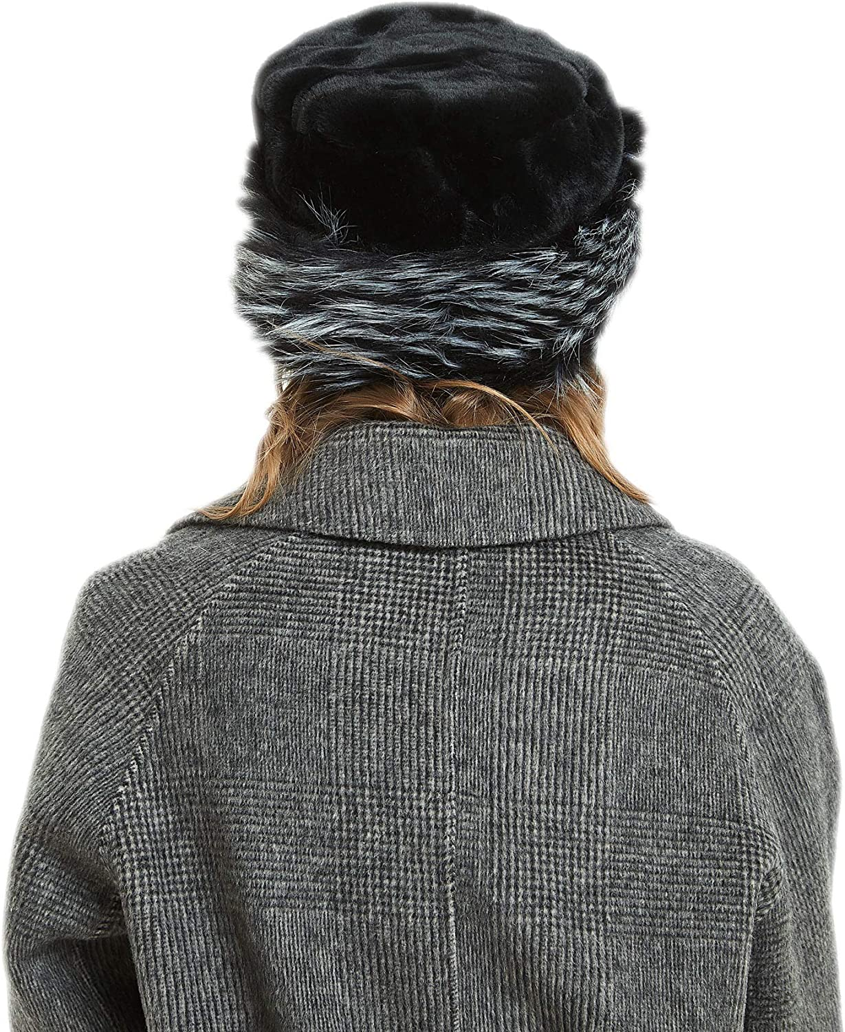 soul young Womens Leopard Faux Fur Hat with Fleece and Elastic for Winter
