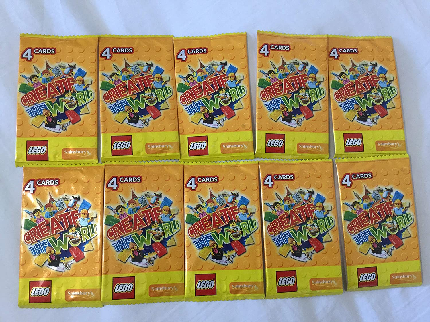 Lego Sainsburys Create the World Cards Yellow pack,... 40 cards 10 packs of 4