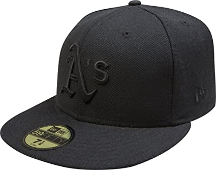 Amazon.com   MLB Oakland Athletics Black on Black 59FIFTY Fitted Cap ... a14c264a2e29