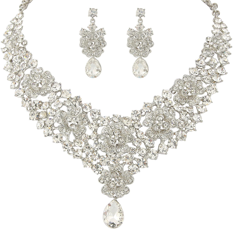 EVER FAITH Womens Austrian Crystal Elegant Orchid Flower Teardrop Necklace Earrings Set