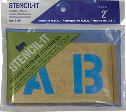 """3/"""" POSTER STENCIL SET Letters Numbers Symbols STENCIL-IT Oil Board Made in USA"""