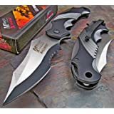 Ballistic Black Grey Assisted Tactical Flipper Pocket Knife (1 Knife) (Basic color)