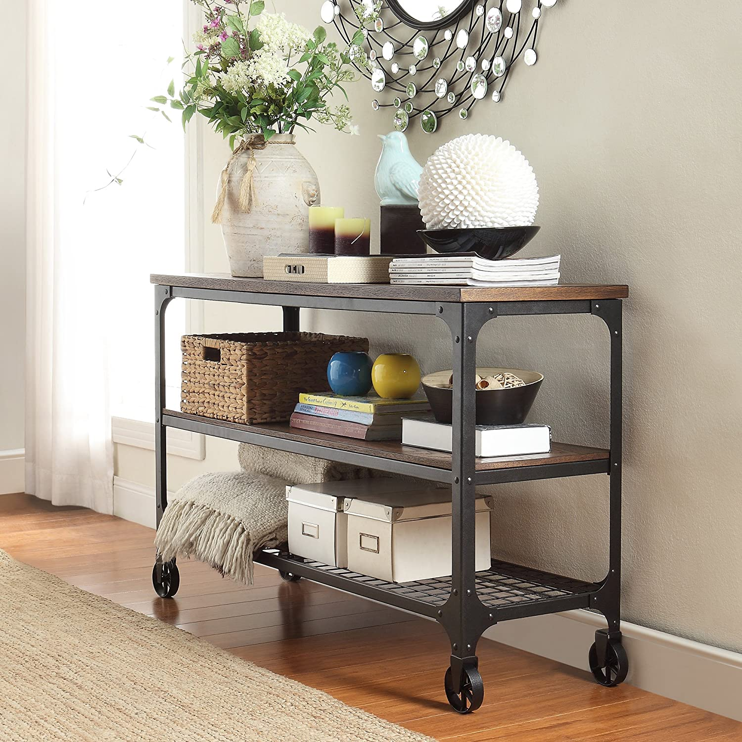 Delicieux Amazon.com: ModHaus Living Modern Industrial Rustic Riveted Black Metal U0026  Wood TV Stand With Decorative Wheels   Includes (TM) Pen (48): Kitchen U0026  Dining