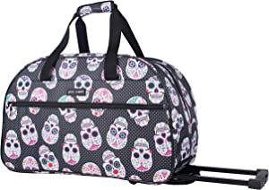 Betsey Johnson Designer Carry On Luggage Collection - Lightweight Pattern 22 Inch Duffel Bag- Weekender Overnight Business Travel Suitcase with 2- Rolling Spinner Wheels (Skull Party)