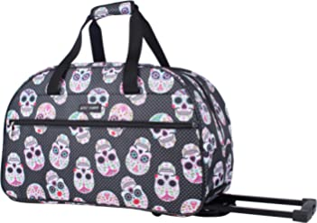 Betsey Johnson Luggage Designer Pattern Suitcase Wheeled Duffel Carry On Bag (Paris Love) (