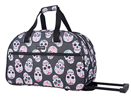 Betsey Johnson Luggage Designer Pattern Suitcase Wheeled Duffel Carry On Bag Paris Love One Size, Skull Party