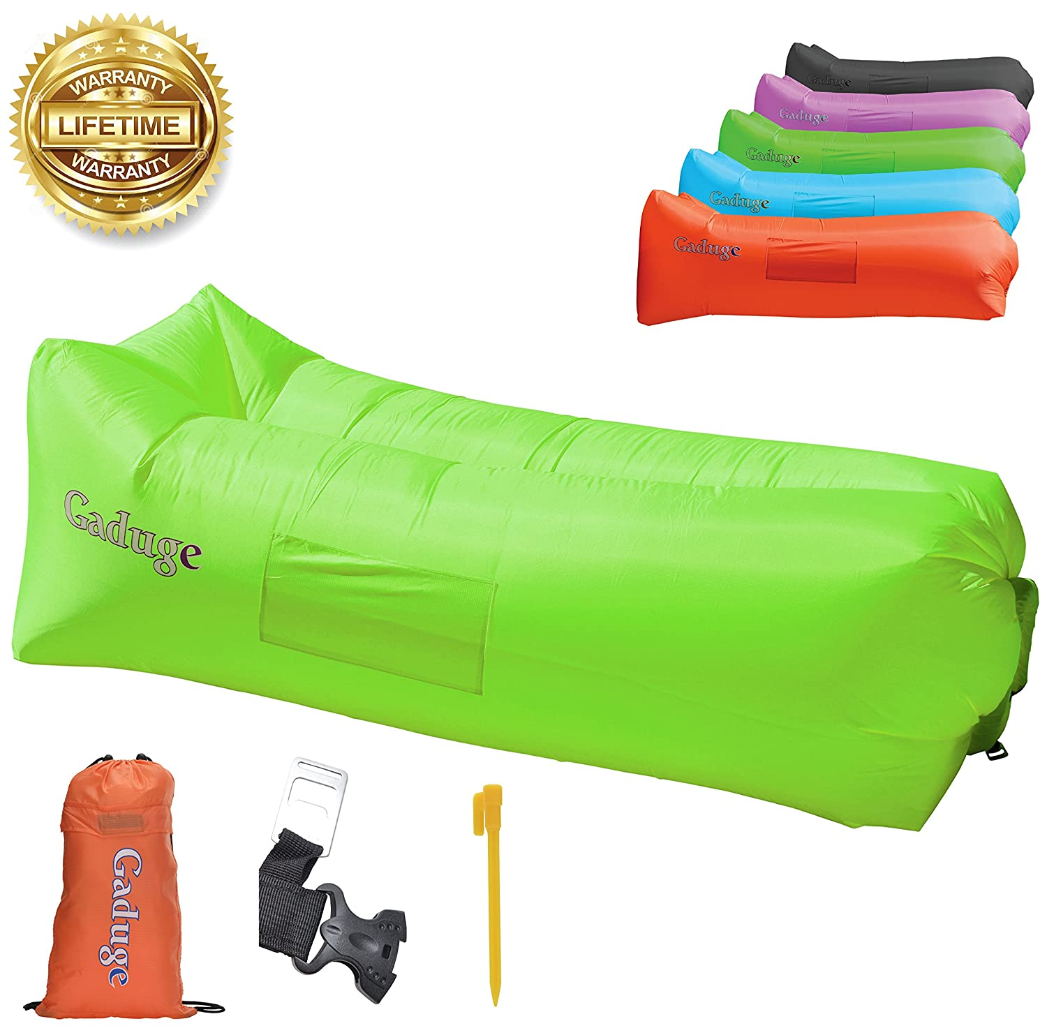 Upgraded 2019 Giant Inflatable Lounger Chair Hangout Sofa with 10 Useful Accessories in 8 Fun Colors! Waterproof Inflatable Couch Bed for Indoor, Outdoor, Pool, Beach, Camping and More! (Green) 141[並行輸入]   B075SYGD9G
