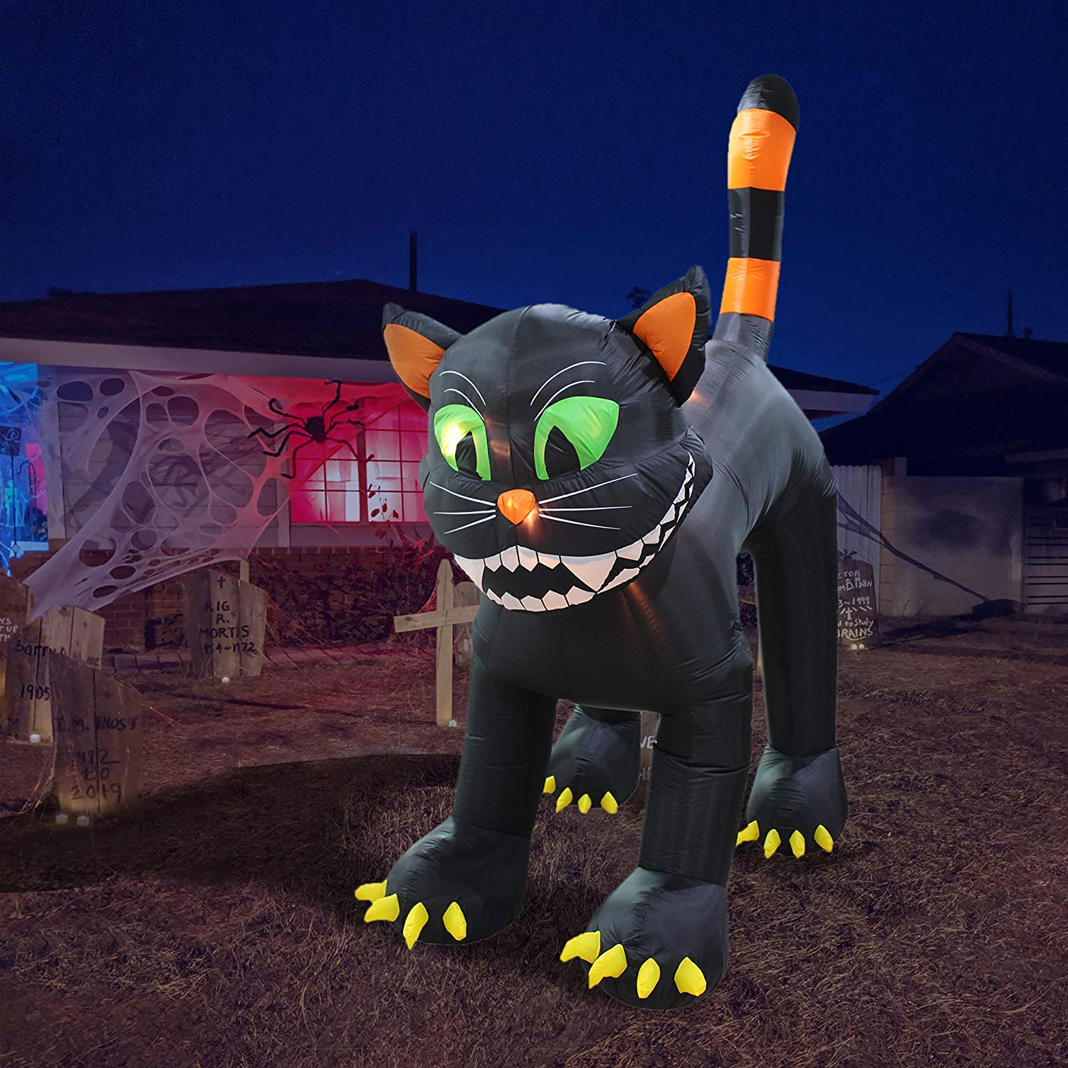 11 Foot Tall Animated Halloween Inflatable Black Cat