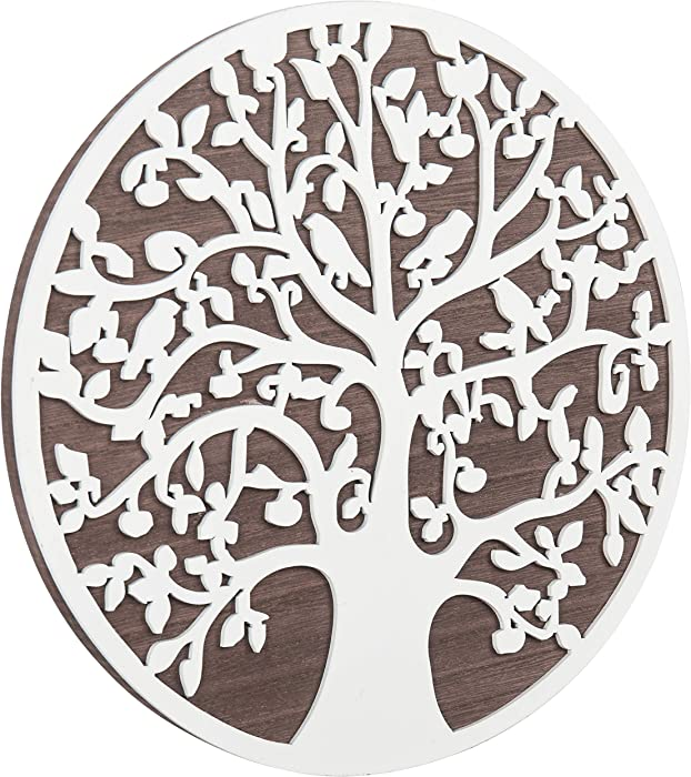 MyGift Wall Mounted 12-Inch Round Silhouette Tree of Life Wooden Art Plaque