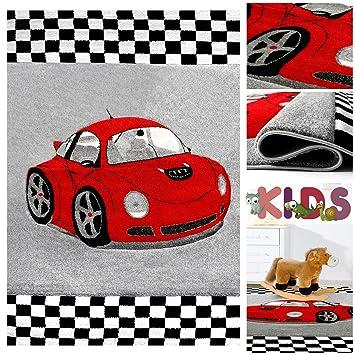 Kinderteppich Spielteppich mit Coolem Auto in Grau Rot   Schadstoff  Geprüfter Teppich mit Sportwagen Motiv für Jungen   Kids Teppiche für Jungs  fürs ...