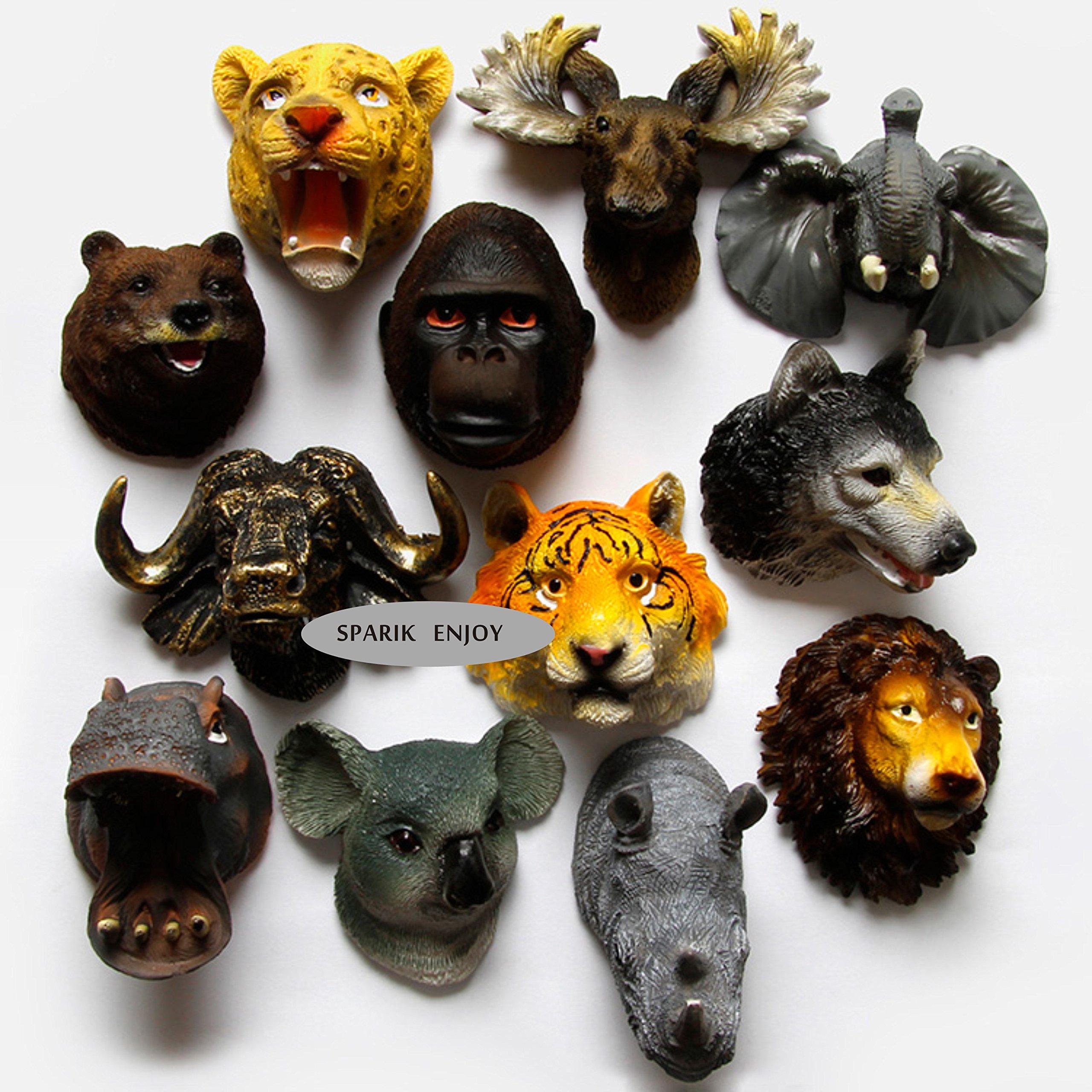 SPARIK ENJOY (TM) Set of 4 Awesome 3D Safari Animal Heads Refrigerator Magnets,Door Magnets, Wolf - Orangutan - Rhino - Tiger Fridge Magnets