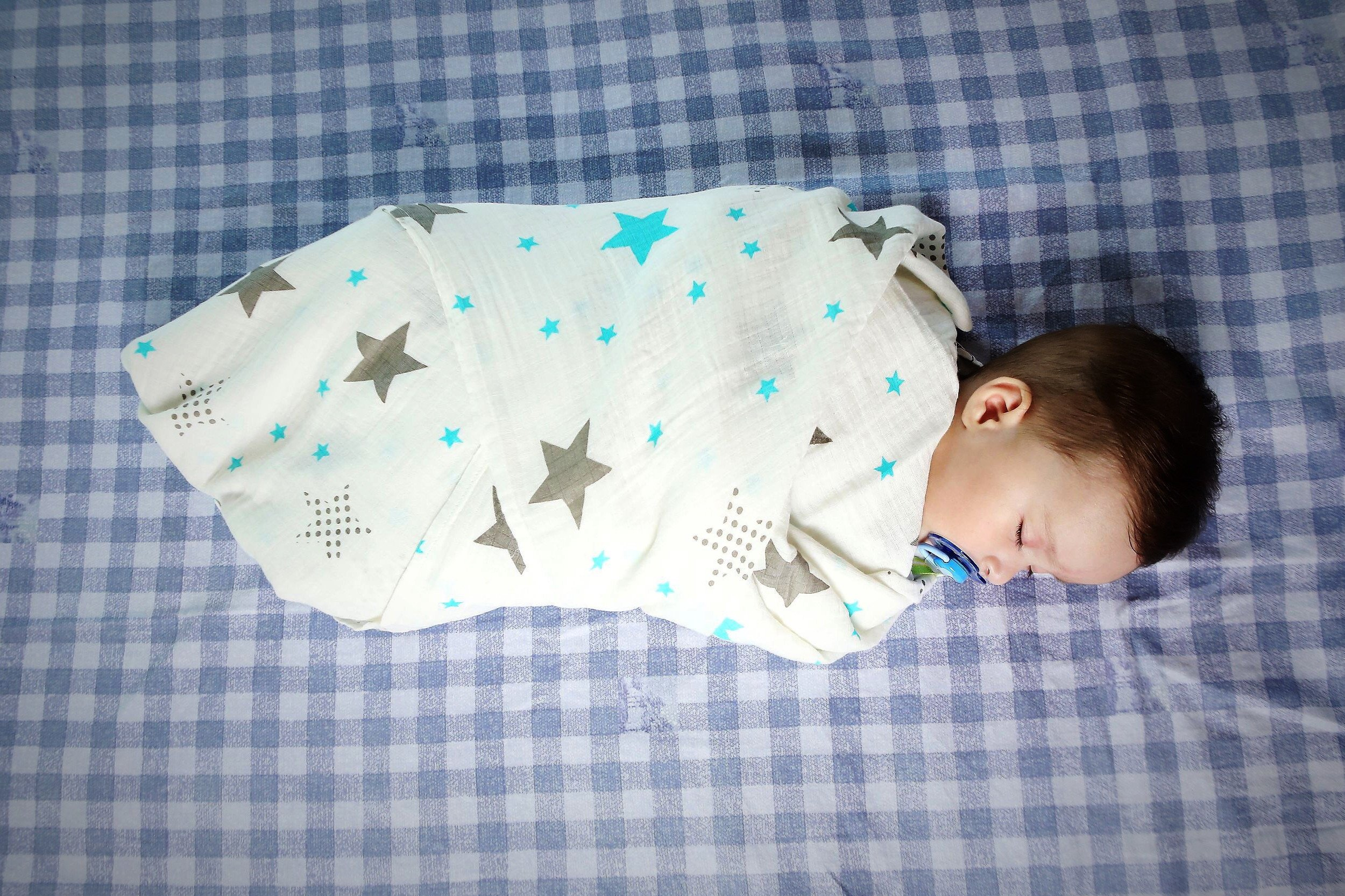 Muslin Swaddle Blankets - 100% Organic Cotton - 3 Pack 47'' x 47'' Ultrasoft and Hypoallergenic - Best Baby Shower Gift (Blue and Grey) by Green Wood (Image #3)