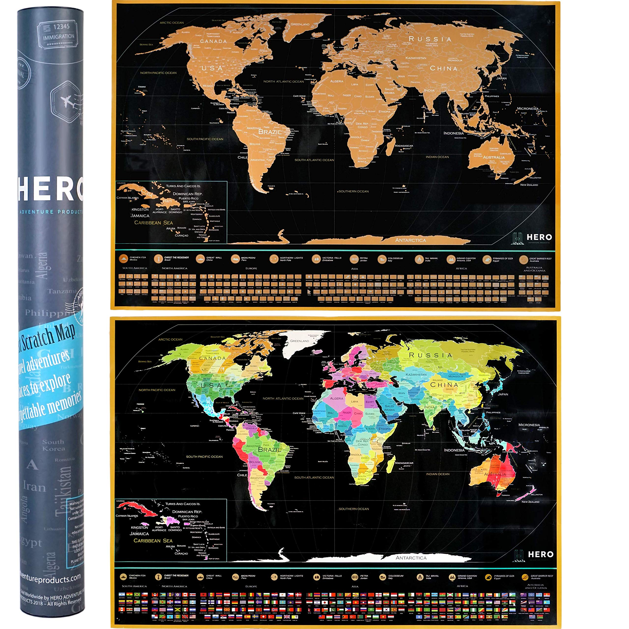 Scratch Off Map Of The World - Extra Large, 35% Bigger Than Other Maps - Amazing Detail, Premium Quality Paper & Easy Scratch Design - Bonus Scratching Accessories + Travel Guide 33 x 23 Inches by HERO Adventure Products