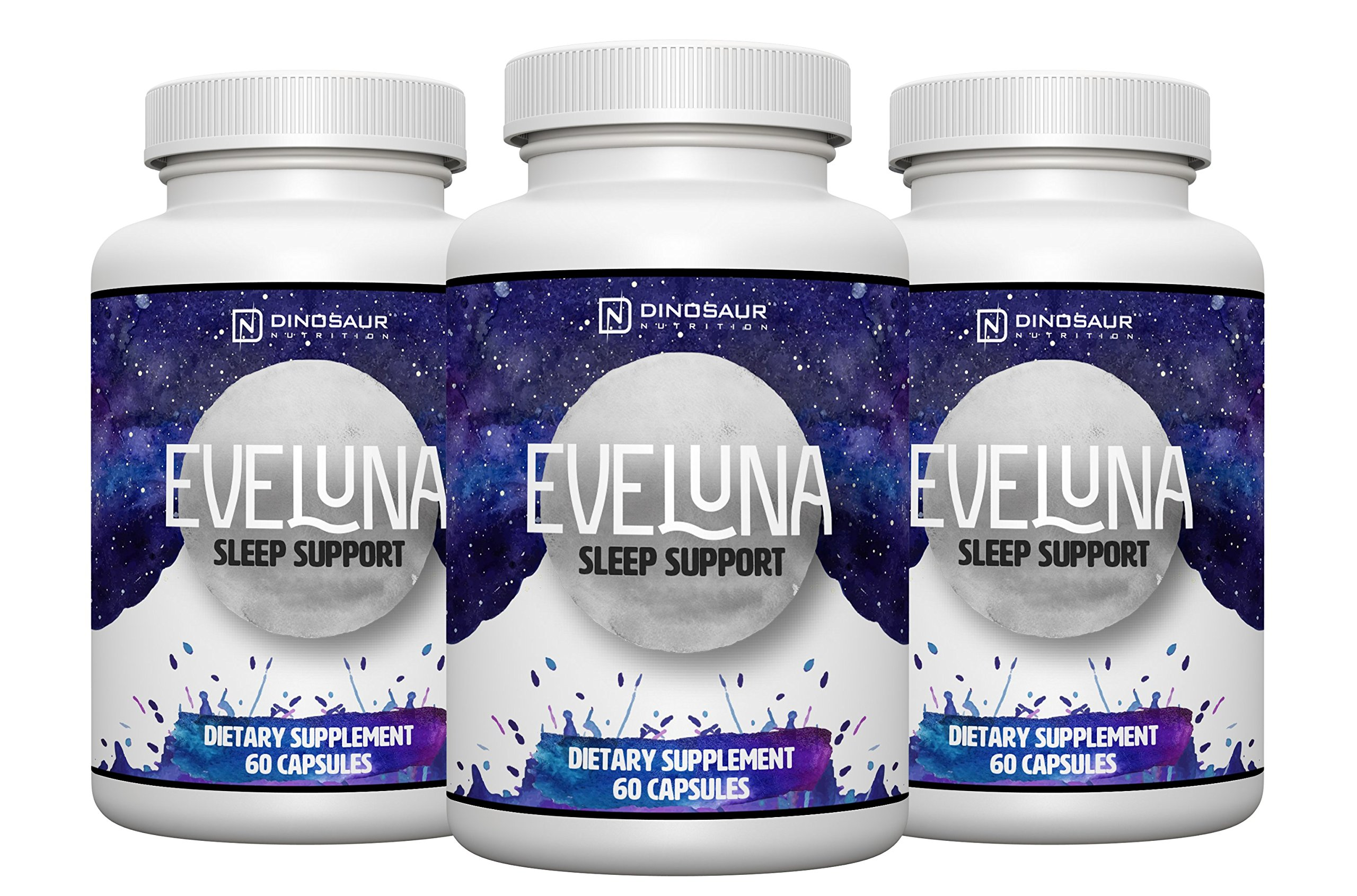 Eveluna - Natural Sleep Aid Supplement with Melatonin, Valerian, Tryptophan, 5-HTP and More - Non-Habit Forming Sleeping Pill Support - Wake Rested And Refreshed - 60 Veggie Capsules (3)