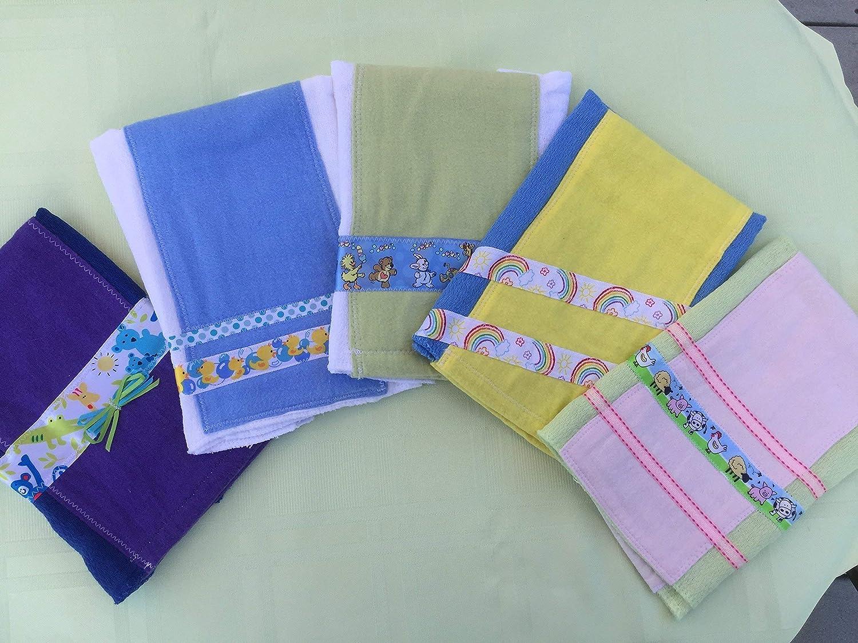 100% Cotton Cloth Diaper Burp Cloths - Set of 5