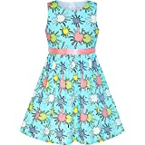 Sunny Fashion Girls Dress Blue Flower Print Children Clothing Size 2-10 Years