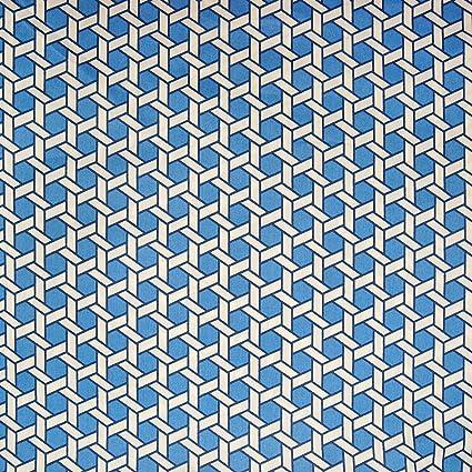 Amazon Com Blue Chintz Contemporary Geometric Lattice Cotton Made
