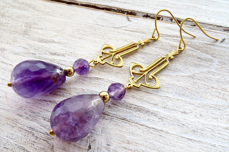 Pendientes de amatista viola, pendientes estilo art deco', pendientes colgantes, pendientes estilo vintage, joyas modernas, joyas piedras preciosas