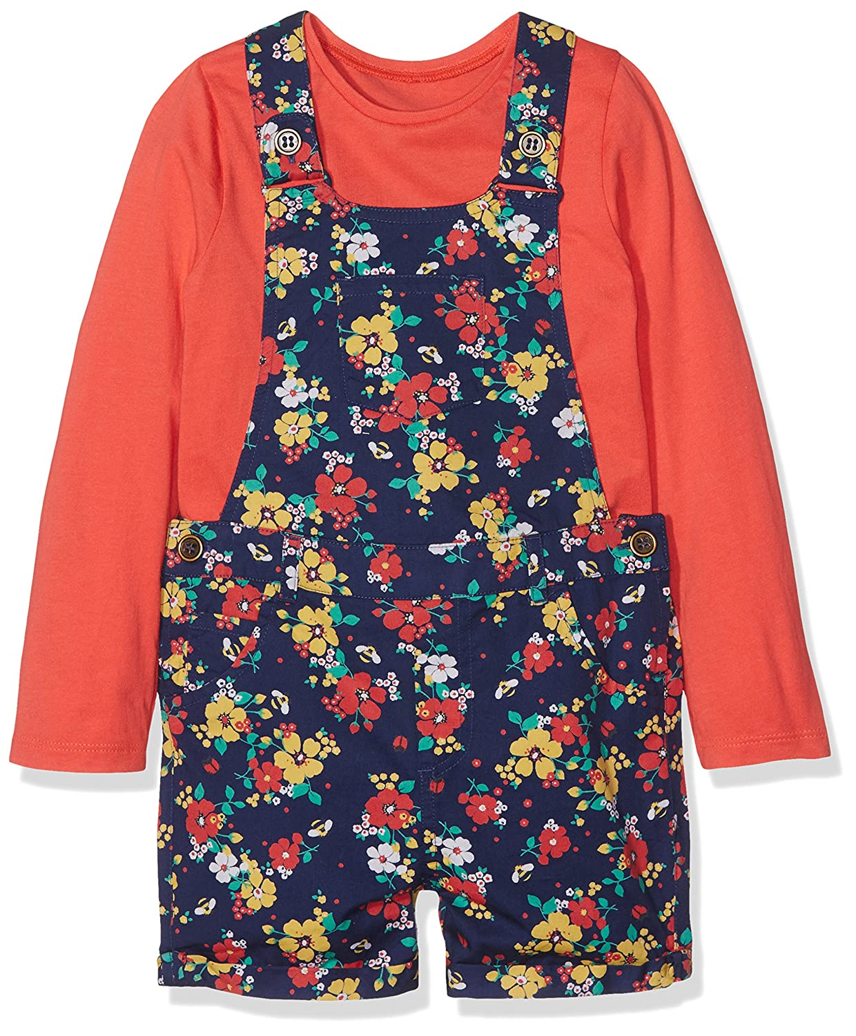 Floral Bibshorts, T-Shirt and Tights Set Blue Mothercare 86515_3