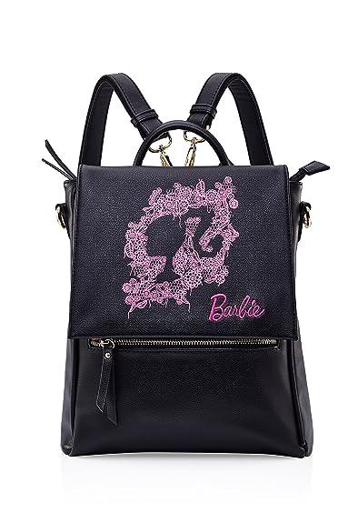 7c79df39f2df Barbie Princess Series Elegant Fashion Princess Style Black Pink PU Leather  Girls Schoolbag Ladies Shoulder Bag