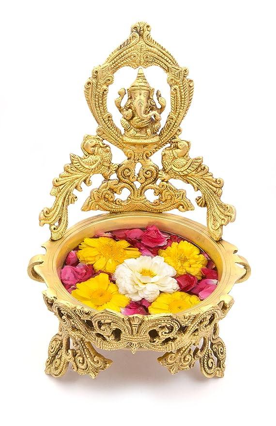 Two Moustaches Ethnic Peacock Design Ganesha Brass Urli Showpiece   Home Decor   Decorative Bowls at amazon