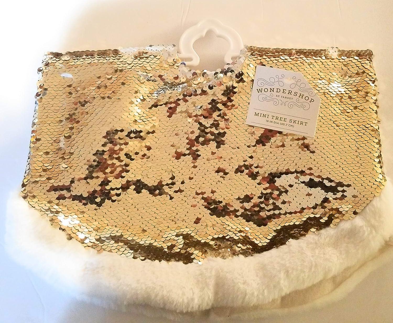 Wondershop Mini Holiday Christmas Tree Skirt Gold Silver Two Tone Sparkle White Faux Fur Trim 18
