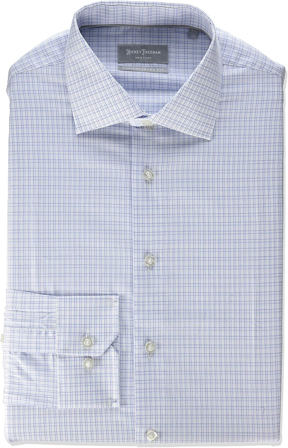 Hickey Freeman Silver Mens Contemporary Fitted Long Sleeve Dress Shirt