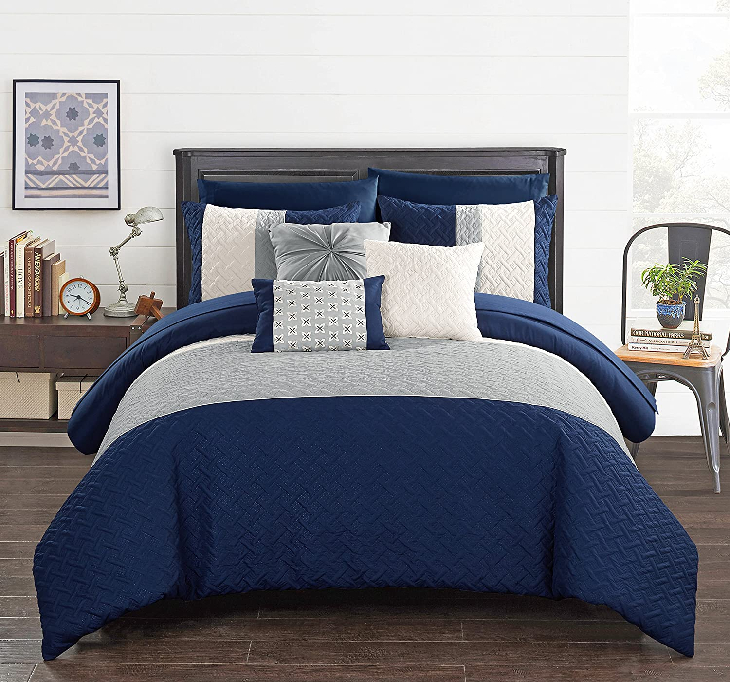 Chic Home Osnat 10 Piece Comforter Set Color Block Quilted Embroidered Design Bag Bedding – Sheets Decorative Pillows Shams Included, King, Navy