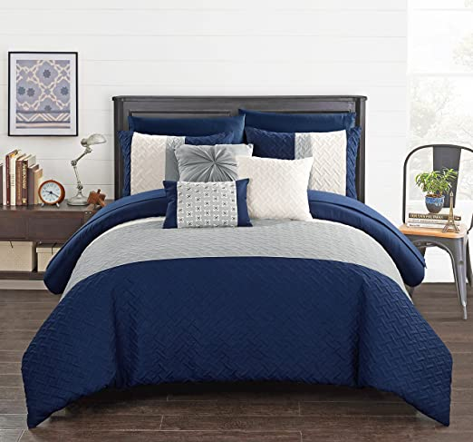 Chic Home Osnat 10 Piece Comforter Set Color Block Quilted Embroidered Design Bag Bedding - Sheets Decorative Pillows Shams Included, King, Navy