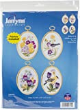 Janlynn 004-0715 Wildflowers and Finches Embroidery Kit, Multi-Colour, Set of 4
