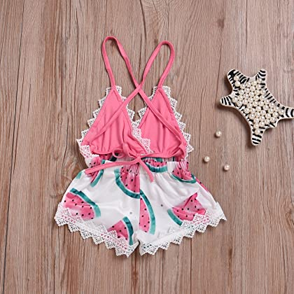 bff8f6e61a8 ... Happy Town 2018 Summer Toddler Baby Girl Clothes Cute Watermelon Print  Lace Trim Backless Romper Shorts ...