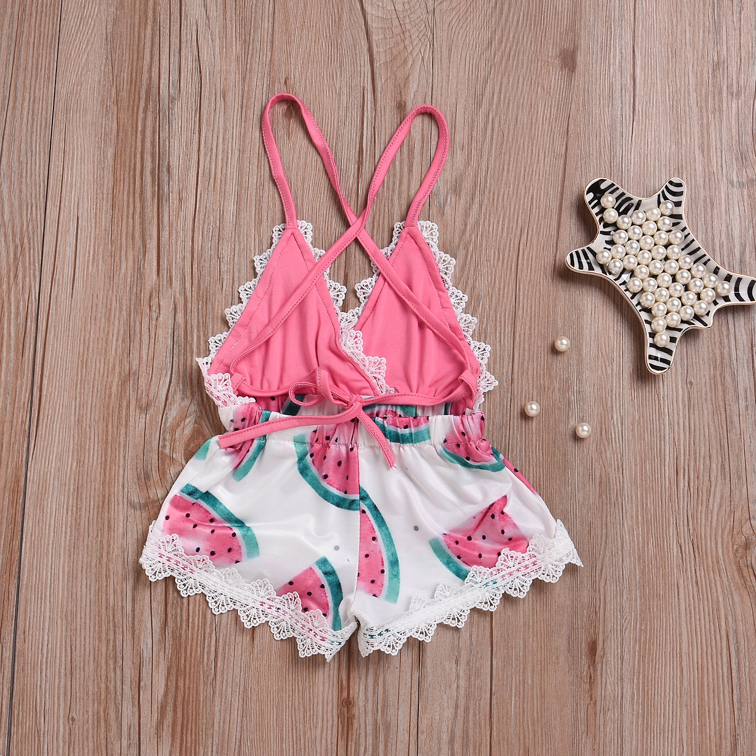 cd9d41c1d38 Amazon.com  Summer Toddler Baby Girl Clothes Cute Watermelon Print Lace  Trim Backless Romper Shorts Jumpsuit  Clothing