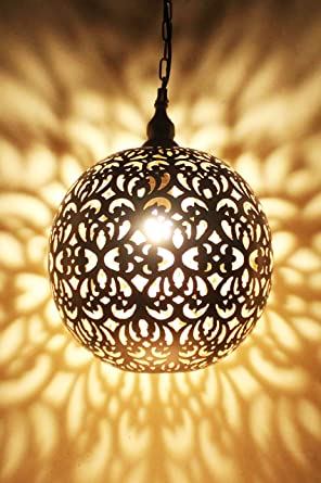 Orientalische Lampe Pendelleuchte Silber Arpana 40cm E27 ...