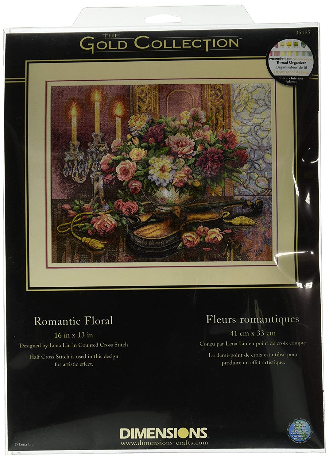 Romantic Floral 13 x 16 14 Count Beige Aida Dimensions Gold Collection Counted Cross Stitch Kit