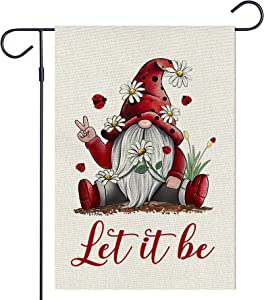 Haustalk Let it be Garden Flag Vertical Double Sided Red Gnomes Ladybug Burlap Yard Spring Summer Fall Outdoor Decor (12.5 x 18, Red Gnomes)