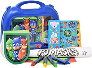 Gift Boutique PJ Masks Coloring and Activity Carry Case, Includes Jumbo Crayons, Stickers, Mess Free Crafts, Doodle Pad, Bookmark, Reuse Me Stickers, for Toddlers, Boys and Kids