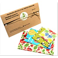 Bees Wax Wraps, set of 4, Random Colours, BEE Zero Waste, UK HANDMADE, Natural alternative to cling film, Biodegradable, plastic free eco lids, reusable food wrap, eco-friendly gift