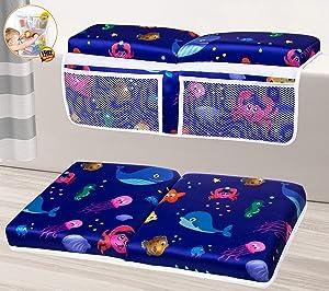 Bath Kneeler Baby Bathtub, Quick Dry Machine Washable Baby Bath Kneeling Pad and Elbow Rest, Toy Storage, Baby Bath Kneeler and Elbow Rest Pad Set, Bath Kneeling Mat and Arm Rest Bundle (Blue Whale)
