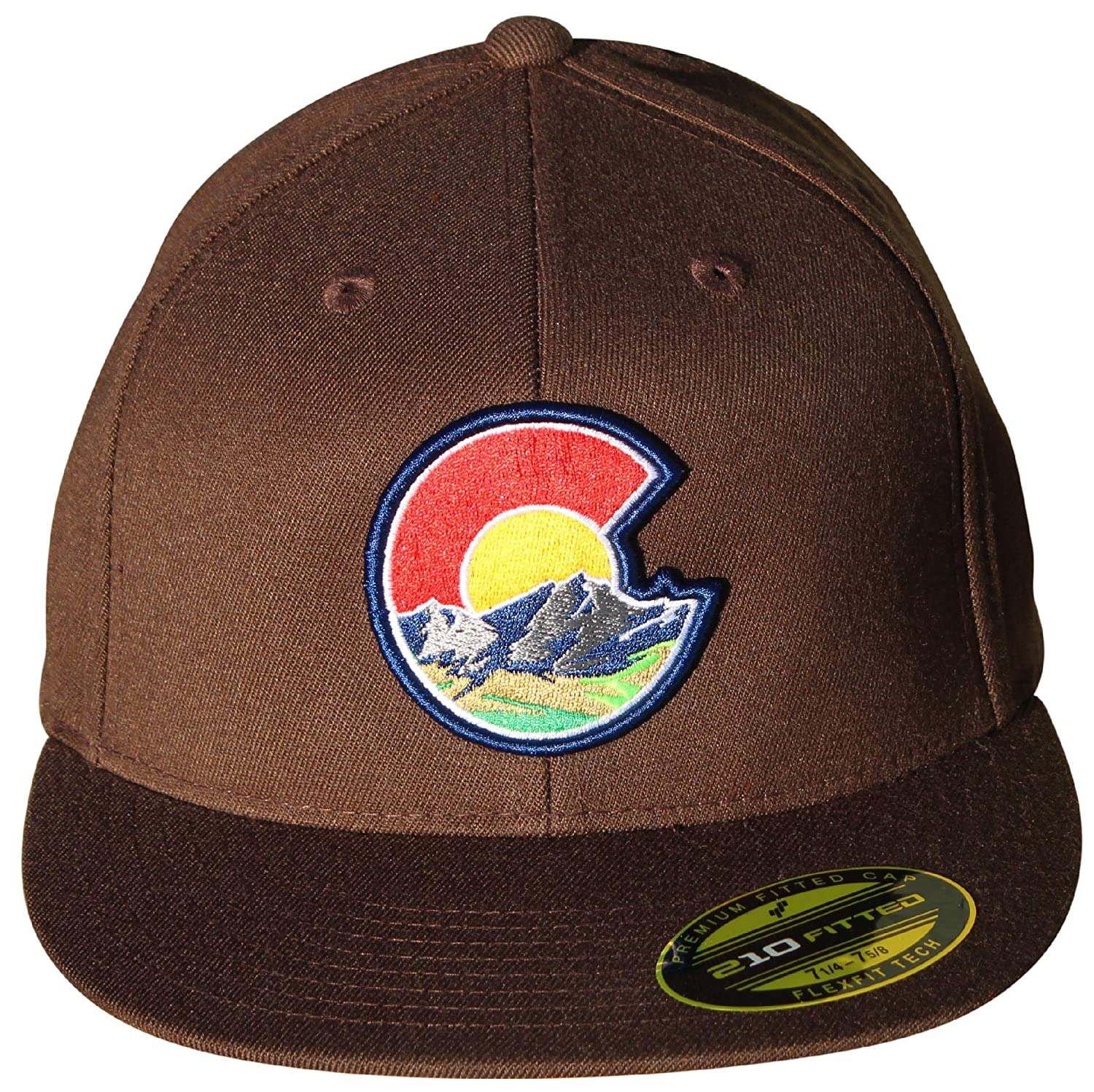 3838ad36210 Colorado C Nature 210 Fitted Flat Bill Hat. Flexfit Tech. Colorado Cap at  Amazon Men s Clothing store